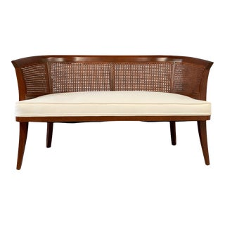 Mid-Century Probber Style Mahogany, Cane and Upholstered Bench For Sale