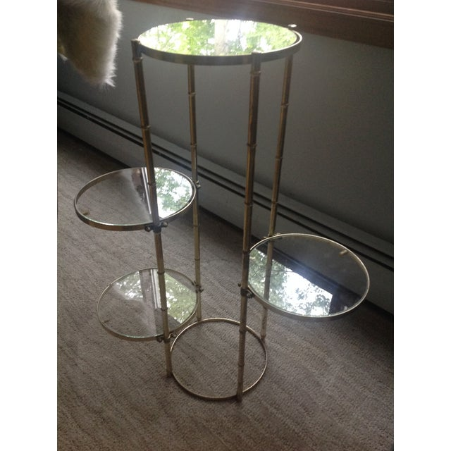 Mid Century Faux Brass Bamboo Shelf Plant Stand For Sale - Image 4 of 9