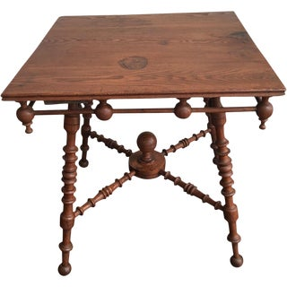 Antique Arts & Crafts Oak Stick & Ball Table