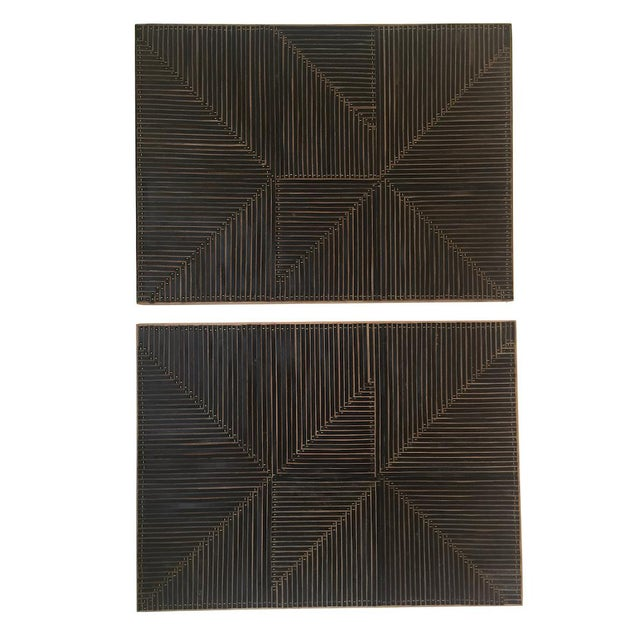 Michelle Peterson-Albandoz Mixed Media Contemporary Leather Panels - a Pair For Sale In Chicago - Image 6 of 6