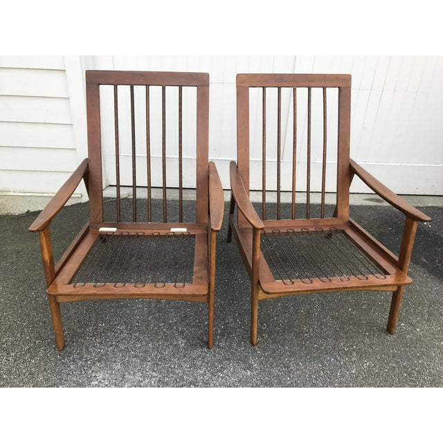 Vintage Danish Modern High Back Armchairs - A Pair - Image 9 of 11