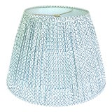 Image of Gathered Pleat Les Indiennes Indigo Lamp Shade 9x16x12 For Sale