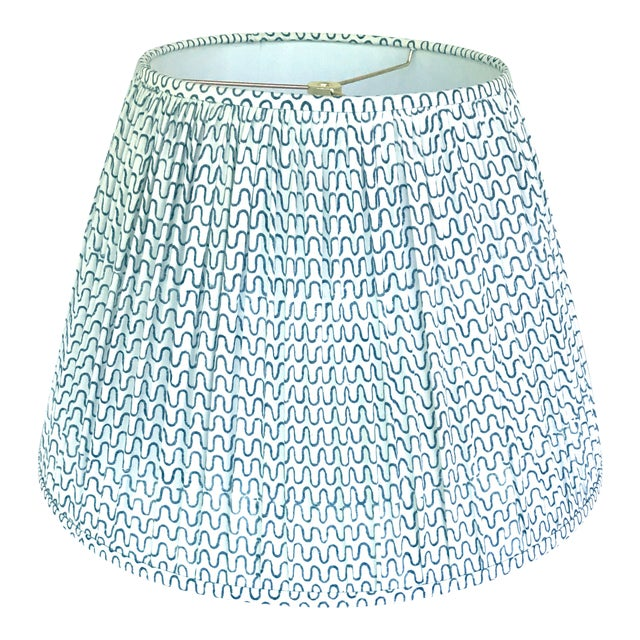 Gathered Pleat Les Indiennes Indigo Lamp Shade 9x16x12 For Sale
