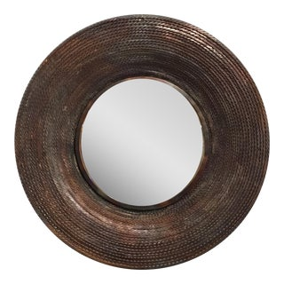Studio a Large Modern Twisted Torched Iron Round Wall Mirror For Sale