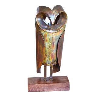 Large Copper Owl Sculpture For Sale