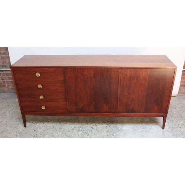 Mid-Century Walnut and Brass Credenza after Paul McCobb - Image 2 of 10