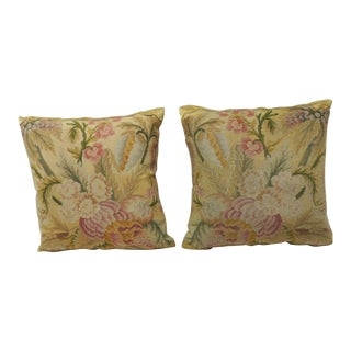 Pair of 19th Century Yellow and Pink Tapestry Decorative Pillows For Sale
