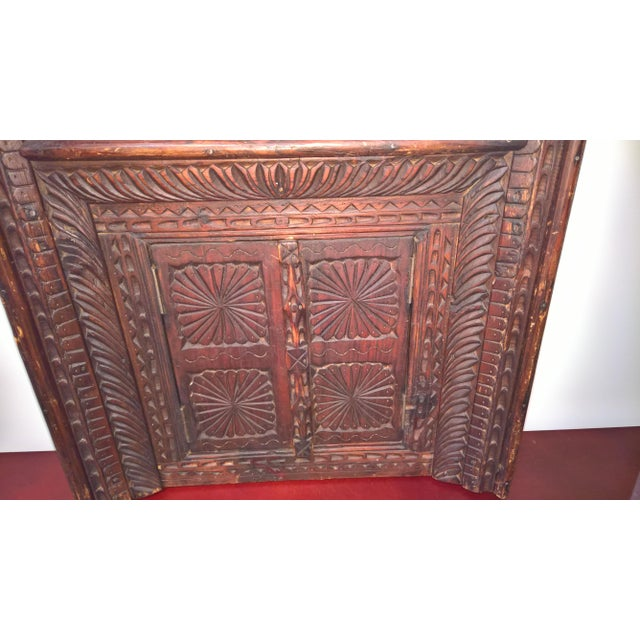 Vintage Afghan Carved Wooden Wall Shutters & Mirror For Sale In San Francisco - Image 6 of 7