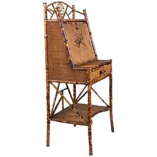 Bamboo and Grasscloth Secretary Desk, Circa 1890s For Sale