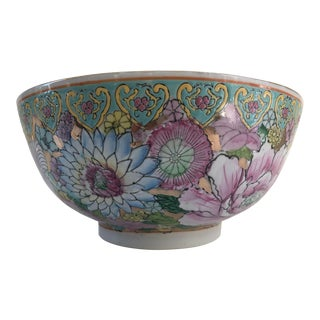 Large Chinese Famille Verte Export Porcelain Palace Bowl For Sale