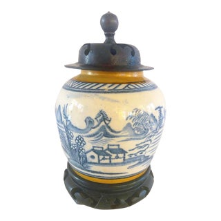 Antique Blue and White Canton Ginger Jar For Sale