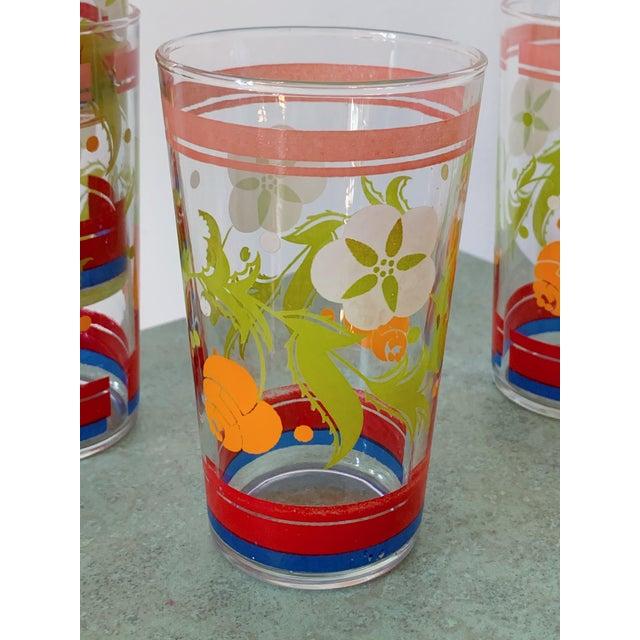 Vintage 1950s Floral Kitsch Drinking Glasses - Set of 6 For Sale - Image 4 of 10