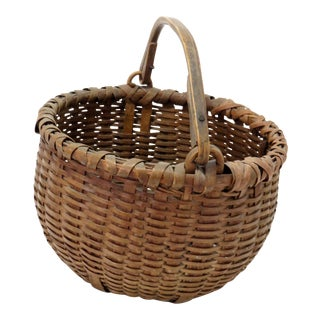 Antique American Primitive Splint Basket For Sale