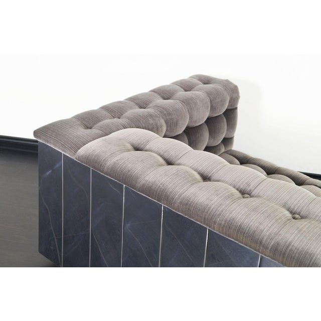 """Gray Vintage Chrome """"Cityscape"""" Sofa For Sale - Image 8 of 9"""