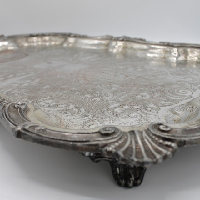 F.B. Rogers Silver Co. Large 19th Century Silver Plate Footed Serving Tray With Handles For Sale - Image 4 of 9