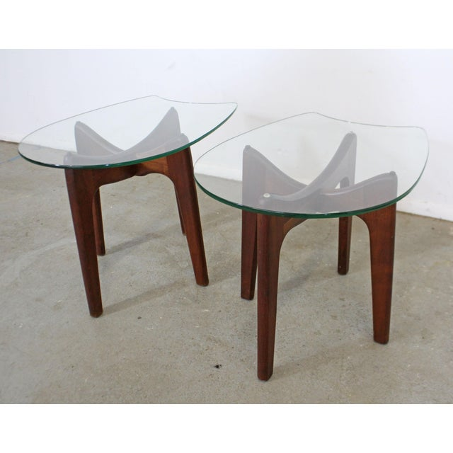 Mid-Century Modern Pair of Mid-Century Danish Modern Adrian Pearsall Stingray Glass Top End Tables For Sale - Image 3 of 13