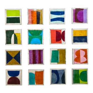 """Encaustic Collage Installation by Gina Cochran """"Spoken Word"""" - Set of 16 For Sale"""