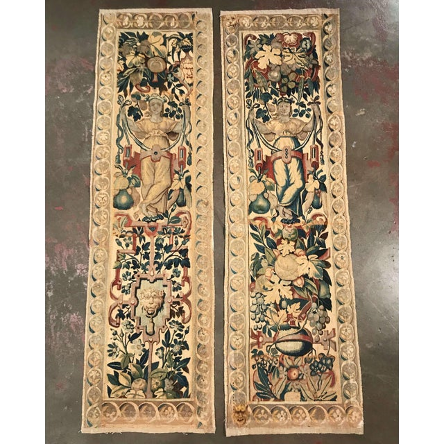 Blue Pair of 18th Century Flemish Portiere Tapestries With Mythological Figures For Sale - Image 8 of 8