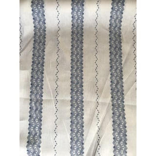 Traditional Schumacher Nauset Stripe Indigo Linen Fabric - 3 1/2 Yards For Sale
