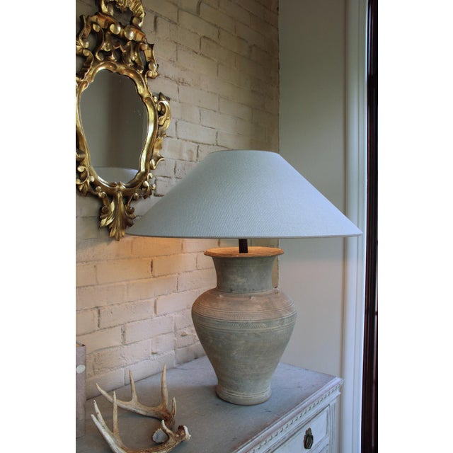 Asian Large Unglazed Khmer Vase as Table Lamp For Sale - Image 3 of 12