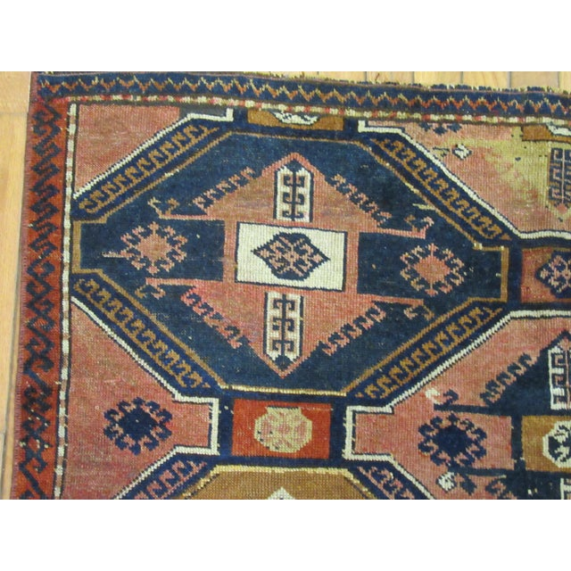 "Vintage Handmade Wool Turkish Anatolian Rug-4'3'x4'10"" For Sale In Atlanta - Image 6 of 10"