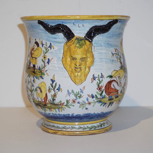 1870s French Yellow, Blue, Green, Red, White Majolica Jardinières / Planters - a Pair For Sale - Image 11 of 13