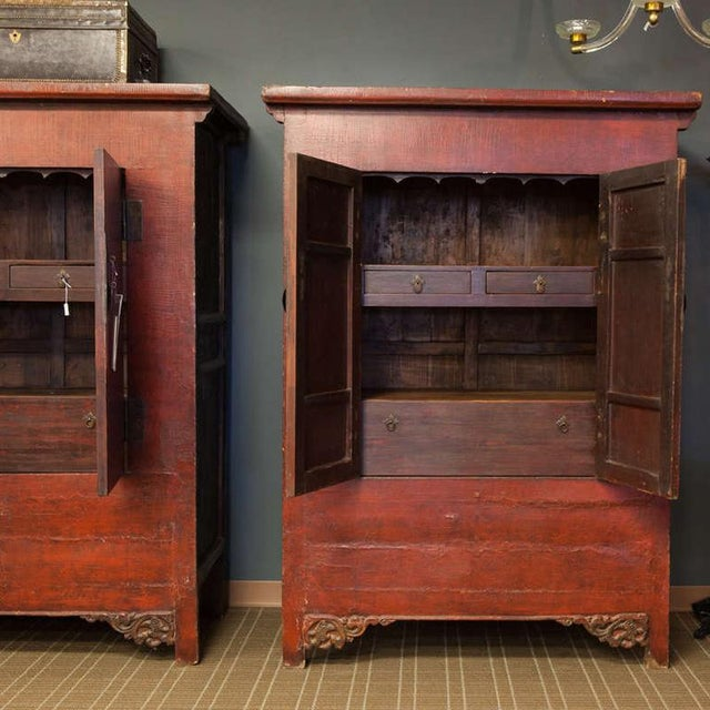 Early 20th Century Tall Chinese Red Lacquer Two Drawer Cabinet For Sale - Image 5 of 6