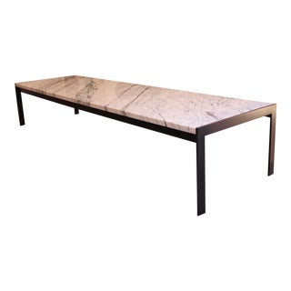 Polished Marble & Blackened Steel Coffee Table
