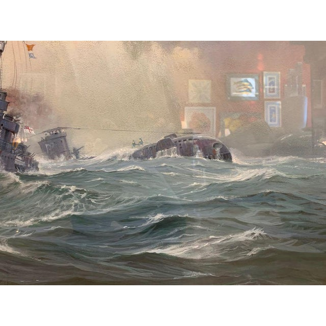 Blue 1990s David Brackman Marine Gouache Painting For Sale - Image 8 of 12