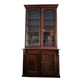 19th Century Victorian Two-Door Mahogany Bookcase For Sale