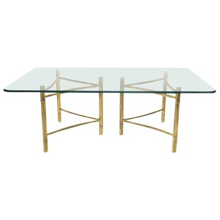 Mastercraft Large Glass Top Double Brass Pedestal Dining Conference Table Huge For Sale