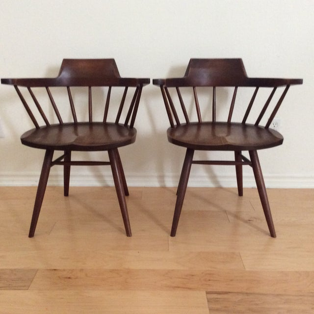 1950s Vintage Signed Nakashima Walnut Captain's Chairs - a Pair For Sale - Image 9 of 9