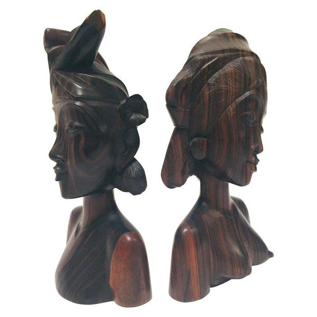 Art Deco Balinese Hand Carved Wooden Busts Bookends - a Pair For Sale - Image 3 of 11