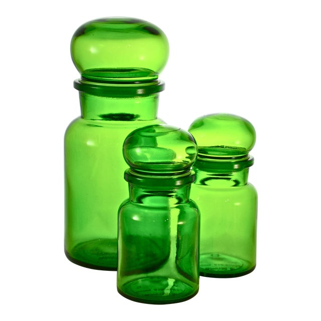 Green Belgium Ball Top Apothecary Jars - Set of 3 - Image 1 of 5