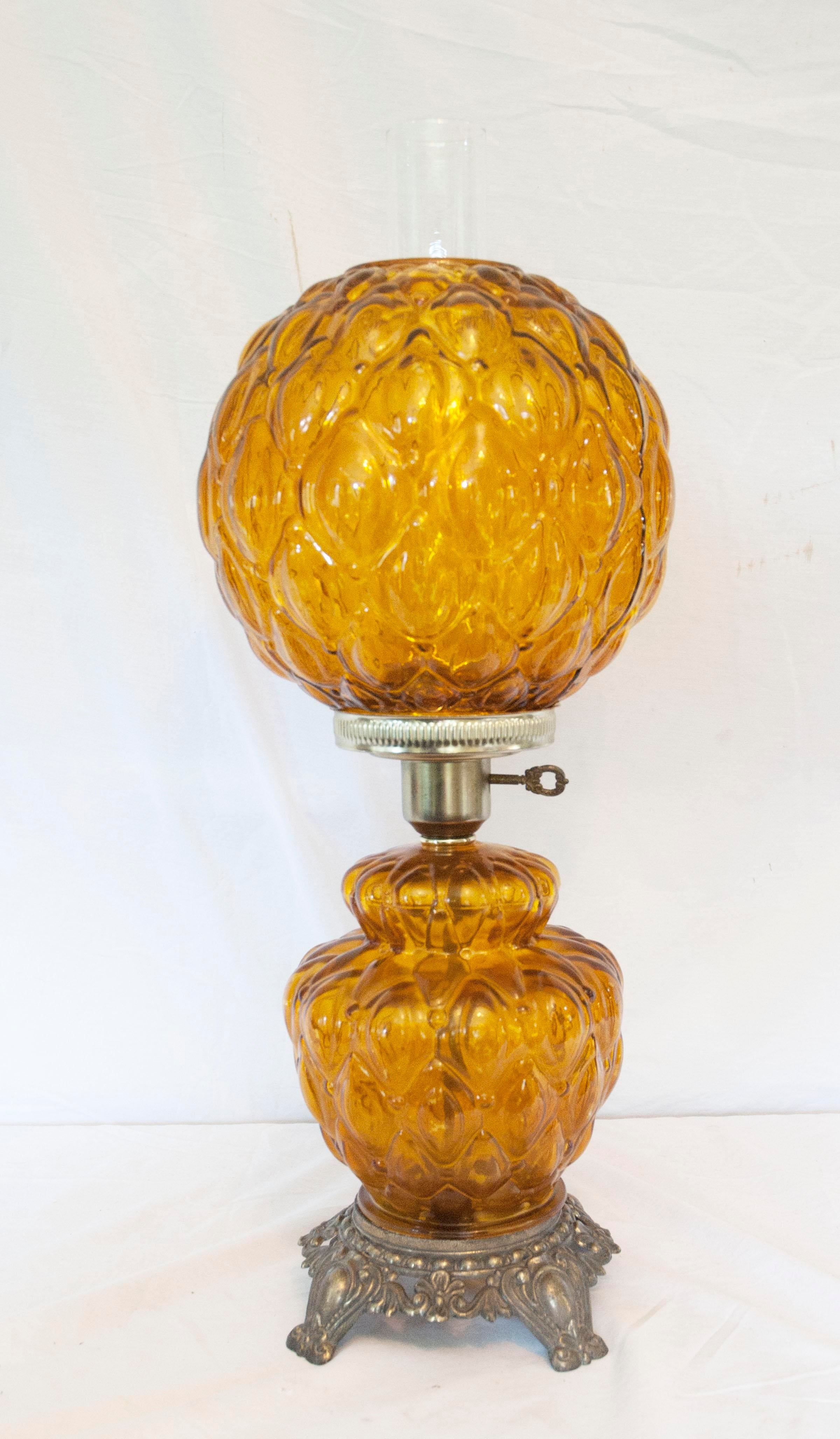 Tall Hurricane Lamp With Glass Chimney. The Lamp Has A Night Light In The  Base. Early American Vintage Amber Quilted Hurricane Table ...