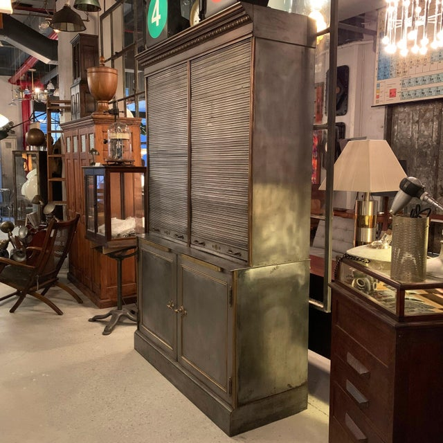 Early 20th Century Antique Steel and Brass Roll Top Valuables Safe Display Cabinet For Sale - Image 5 of 13