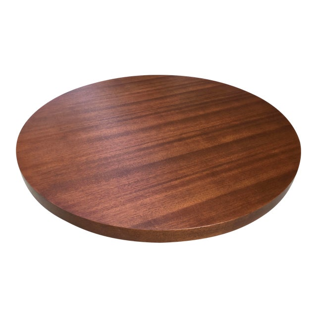 1950s Art Deco Architectural Round Mahogany Coffee Table For Sale