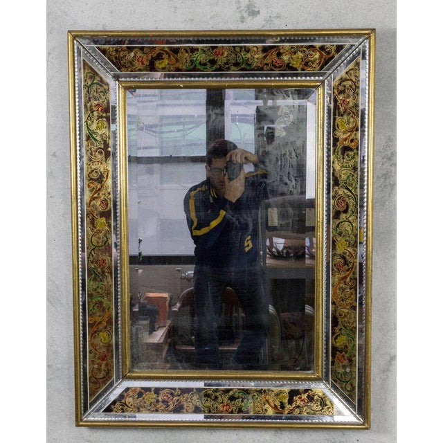 French, 1940s Reverse Painted Mirror For Sale - Image 10 of 11