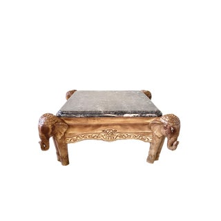 1990s Regency Elephant Marble Cocktail Table For Sale