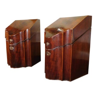 Antique c. 1830 English Georgian Period Mahogany Knife Boxes - A Pair