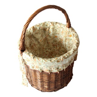 1980s Vintage Handmade Wicker Shopping Basket For Sale