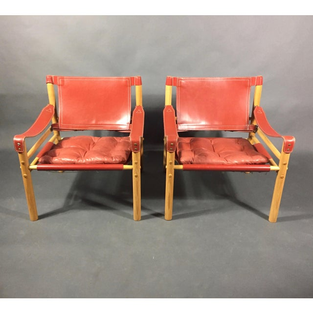 Scandinavian Modern Arne Norell Red Leather Sirocco Chairs - a Pair For Sale - Image 11 of 12