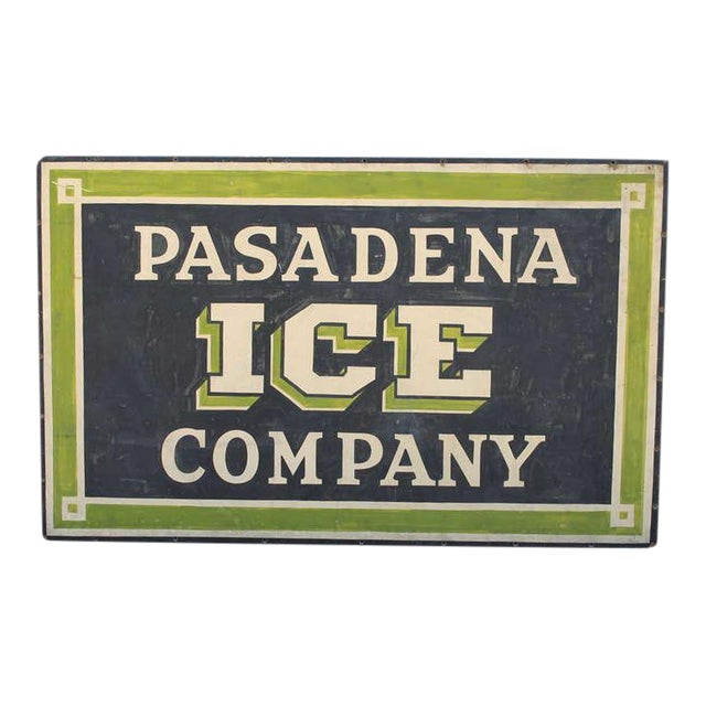 Early Pasadena Ice Company Trade Sign On Board From 1901 - Image 1 of 7