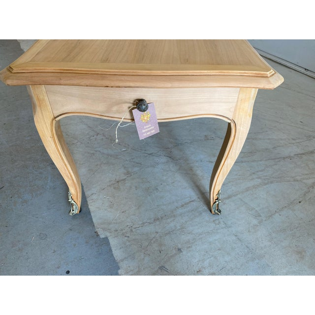 French Antique Coffee Table Louis XV Style With 2 Drawers Bleached For Sale - Image 9 of 11