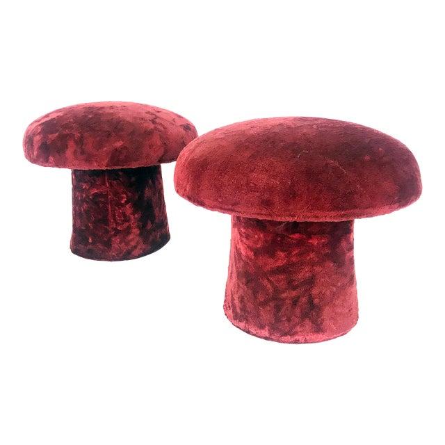 Vintage Maroon Mushroom Shag Carpet Stools - a Pair For Sale