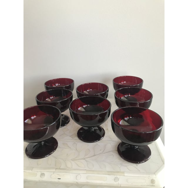 Red 1940s Ruby Red Glass Sherbet Ice Cream Dish - Set of 8 For Sale - Image 8 of 11