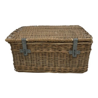 Vintage English Wicker Storage Basket For Sale