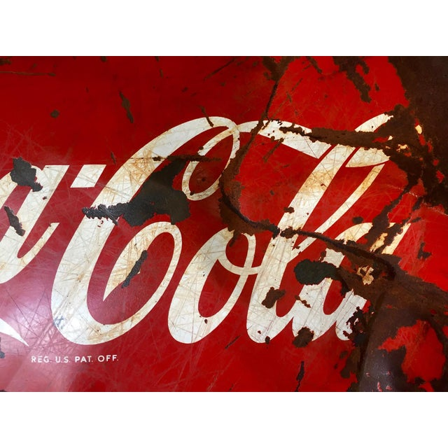 Red Vintage 1950s Coca-Cola Button Sign For Sale - Image 8 of 9