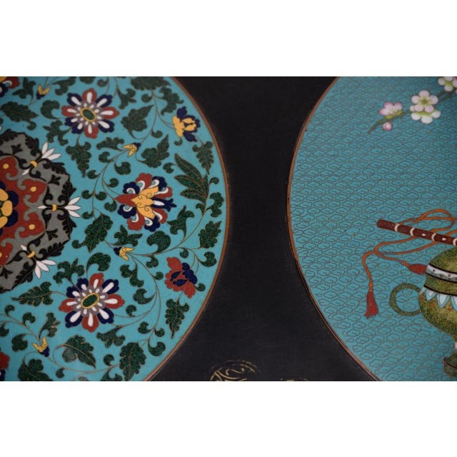 Metal 1940s Vintage Black Lacquer & Turquoise Blue Cloisonne Chinese Coffee Table For Sale - Image 7 of 8