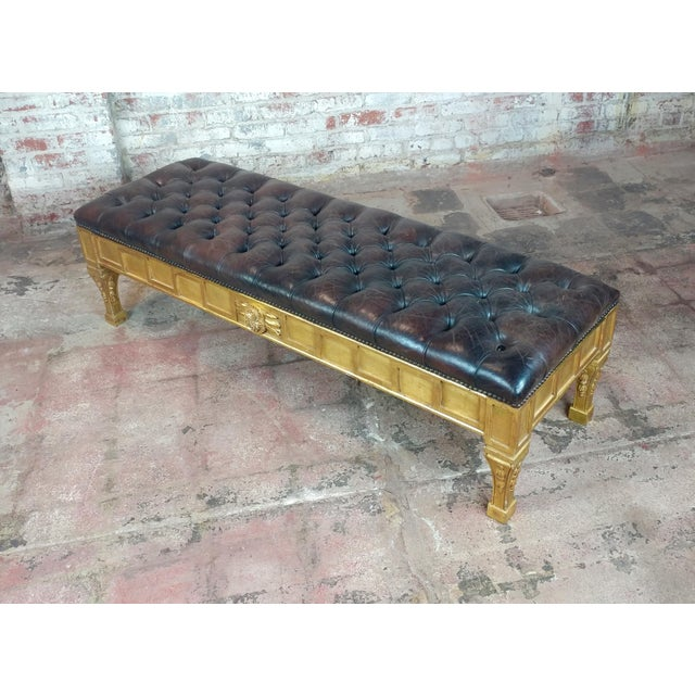Wood French Empire Beautiful Tufted Leather Window Bench For Sale - Image 7 of 10